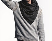 Grey wool scarf with snaps, grey and black houndstooth pattern wool with leatherette and snaps, large chunky scarf, gift for him or for her