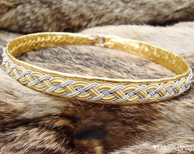 Nordic Viking Sami Gold Leather Necklace Collar NIFLHEIM Choker with Pewter Gold Braid and Antler Button - Handmade Norse Tribal Elegance