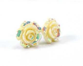 Butter Yellow Earrings  14mm Glossy Pastel Camellias with Aurora Borealis Finish  Titanium Earring Pair  Hypoallergenic Minimalist Jewelry