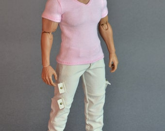 1/6th scale XXL V-neck T-shirt for: Hot Toys TTM 20 size bigger action figures and male fashion dolls