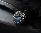 Silver necklace, wire wrapped pendant, Labradorite necklace, blue gemstone, luxury jewelry for her