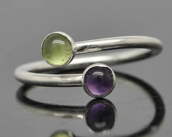 Birthstone ring, adjustable ring, two birthstone ring, gemstone ring, sterling silver ring, mothers ring, Bridesmaid gift, Sisters ring
