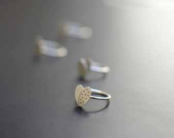 Sterling Silver Ring, Polka Dot, Heart, Modern, Contemporary
