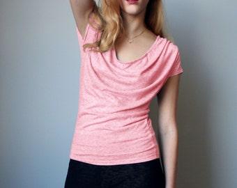 Slub Linen Drapey Jersey Top Pink Speckle, Black Speckle, or Slate Blue | Small, Medium, Large