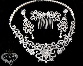 Pearl jewelry set ~ 3 piece ~ Brides jewelry set ~ Swarovski pearls ~ Hair comb ~ Wedding jewelry ~ Pearl and Rhinestone jewelry set ~ALEXIS