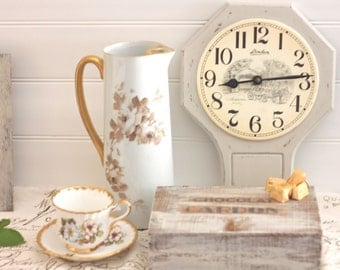 Vintage Clock with Porcelain Face and Painted Wood Finish
