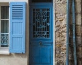 Blue Door Photograph, Architecture, Paris Photography, Window Shutter, Country French Decor, Window Photo, Blue and Tan, Stone Building