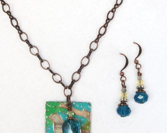 Copper and Silver Bird with turquoise, green and yellow Necklace and Earrings Set - handmade - mom, sister, friend, daughter gift