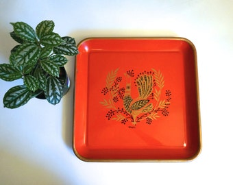 Mid Century Metal Tray Red and Gold Peacock Maxey Retro Serving Tray