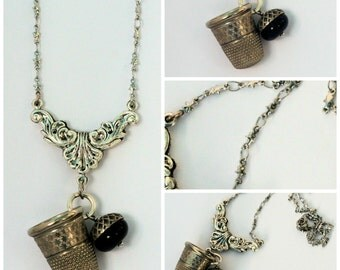Peter Pan Thimble Necklace With Acorn Kisses and Stars, Stainless Steel Second Star Right Peter Pan and Wendy