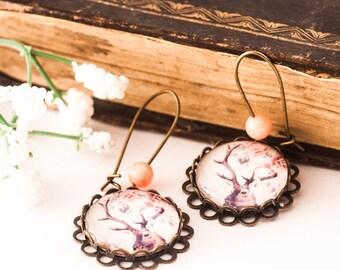 DEER Earrings - Deer Jewelry - WOODLAND - DEER - Animal Lover Gift - Woodland Earrings - Glass Earrings, Pink Earrings, Christmas Gift, Gift
