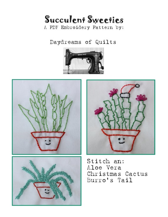 Plant embroidery pattern succulent
