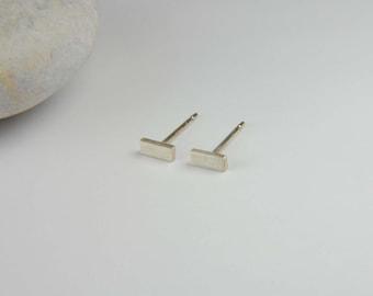 Silver Bar Earrings 5mm x 2mm Handmade Simple Earrings Minimalist Earrings Sterling Silver Bar Studs Line Earrings Modern Silver Earrings