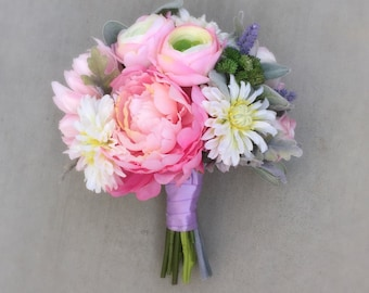 Pink Peony Wedding Bouquet - Pastel Pink, Lavender, White, Sage & Green Silk Wedding Bouquet