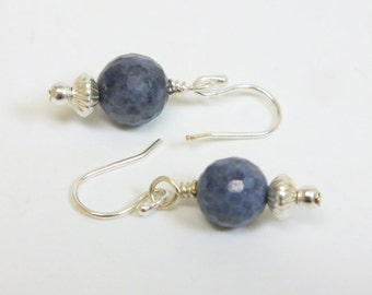 Denim Blue Sodalite faceted beads trimmed with Sterling Silver