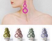 Long fiber earrings, geometric earrings, Hoop earrings - Fashion - Modern jewelry - Geometric - hot pink - Gift ideas for her