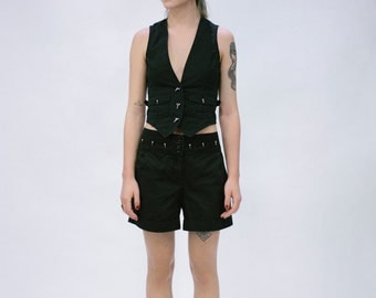 Black Cotton Waistcoat with Silver Spike Studs Details