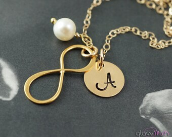 Infinity necklace, gold necklace, personalized infinity charm, mothers necklace, Friendship necklace