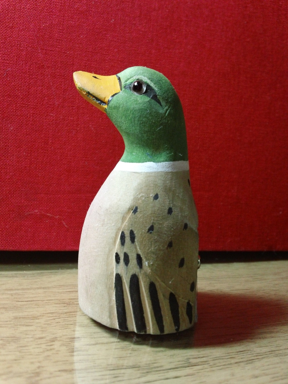 Carved wood mallard duck pencil sharpener from