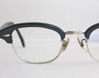 Vintage 50's Damaged Slate Blue Horn 12K Gold Filled Cat Eye Eyeglasses
