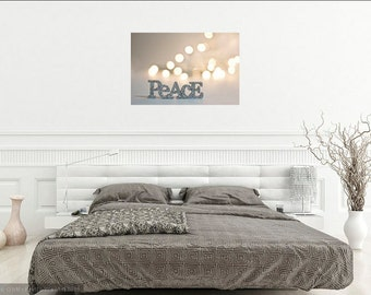 Peace Photography Canvas Wrap, Silver Gold Holiday Word Art, Sparkly Pale Dreamy Canvas Art, Neutral Living Room Wall Hanging, Bokeh Print