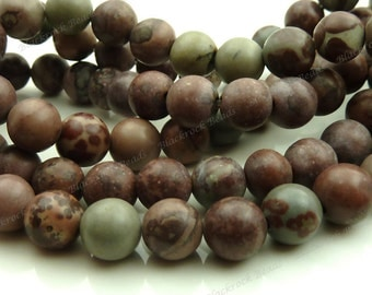 6mm Crazy Horse Natural Gemstone Round Beads - 15.5 Inch Strand - Brown, Gray, Tan, Mauve - BC14