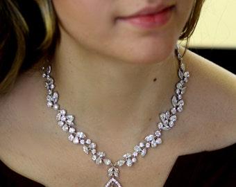 CZ Bridal Necklace  , Leaves Necklace, Flower necklace, Cubic Zircon Necklace, Vintage Jewelry ,Bridal Set, Bridal Jewelry