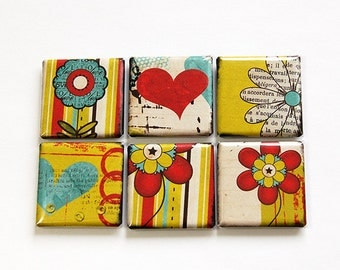 Square Magnets, Flower Magnets, Fridge Magnets, Kitchen Magnets, Magnets, button magnets, Flowers, Floral, abstract design (4609)