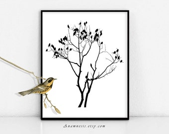 BIRDS ON BRANCHES - digital download - printable graphic birds image by Anamnesis - image transfer - totes, pillows, prints, clothes