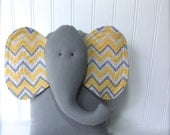 yellow elephant pillow, yellow and grey nursery, chevron elephant pillow, baby shower gift by whimsysweetwhimsy