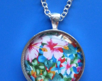 Flower Necklace-Hibiscus Flowers-Beautiful Tropical Colorful Floral Necklace-Silver Metal-Hawaiian-Glass Dome-Gardener's Gift