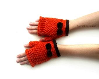 Short Orange Fingerless Knit Gloves