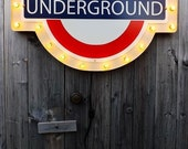 Underground sign marquee Brexit London subway British marquee with edison lamp bulbs Hipster decor Vintage london Retro industrial decor