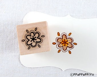 40% OFF SALE Flower pattern Rubber Stamp (20mm)