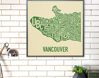 Vancouver Neighbourhood Map Poster or Print, Original Artist of Type City Neighborhood Map Designs, Typography Map Art