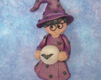 Boy Wizard Magic Crystal Ball Christmas Ornament Handcrafted Polymer Clay Milestone Cake Topper Potter Glasses Flying Bat Mystic Hat Robe