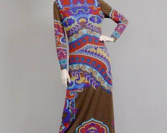 LEONARD Fashion Paris Vintage 1960s Mod Sikiang Jersey Textured Kaleidoscopic Optic Art Print Signed Long Dress.
