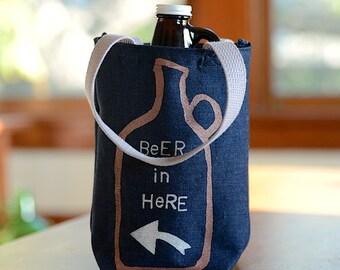 Growler Bag, Screen Printed Denim Arrow Growler Tote, Beer In Here, Ready to Ship