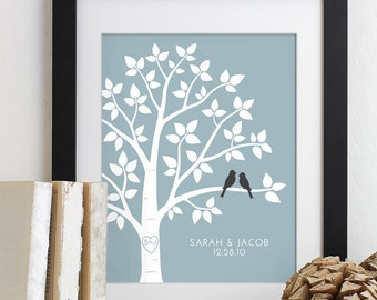Personalized Family Name Wall Art Love Birds Wedding Family Tree Print Wedding Anniversary Gift for Her Engagement Gift Housewarming