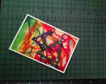 P51 - Triangle Colorful Abstract Expressionism Poem Postcard