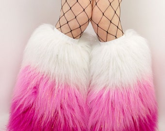 CUSTOM choose your colors furry boots glitter festival leggings rave fluffies