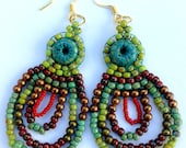 Multicolor Chandelier Earrings, Beaded Chandelier Earrings, Multicolored Earrings, Beadwoven Earrings, Dangle Earrings
