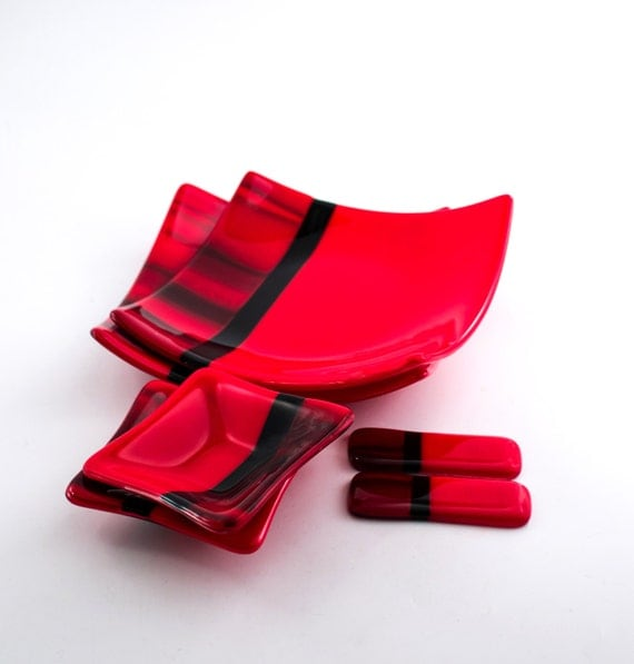 Red And Black Sushi Set Japanese Dinnerware Fused Glass
