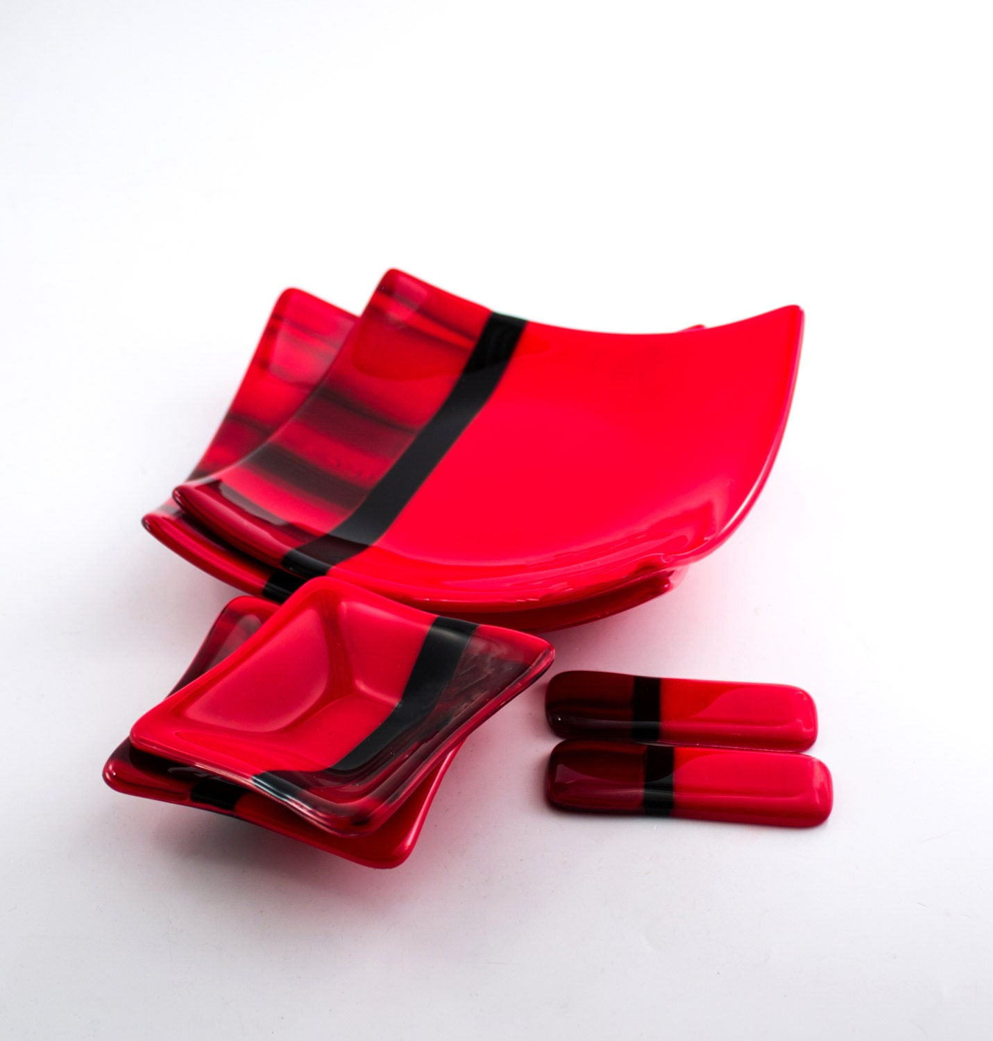 Red and black sushi set asian dinnerware fused by nostalgianmore