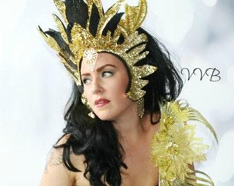 Fire Avant garde Fire Goddess Flames Futuristic GOLD Metallic Sequin Crown,Headdress,headpiece,Flame,Crown,Hat,FIRE