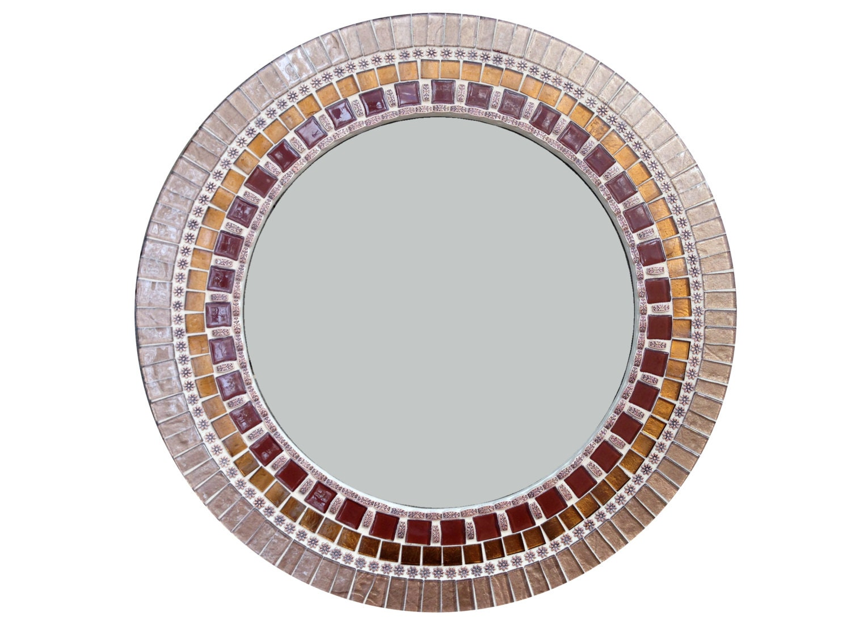 Round Mosaic Mirror Brown Copper Bronze Mixed Media Mosaic