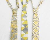 Boys Yellow and Grey Necktie, Buttercup Neck Tie, Toddler Necktie, Wedding Ring Bearer, Baby Boy Tie, Youth Necktie, Gray and Yellow