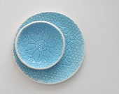 turquoise blue lace ceramic saucer for sweets wedding plate