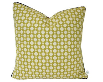 Designer Chartreuse Betwixt Schumacher Pillow Cover with Navy Blue Piping