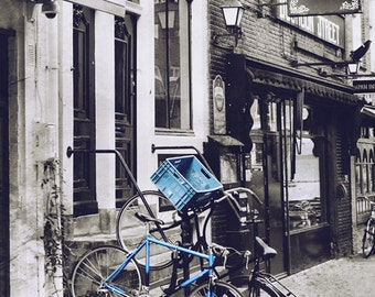 Street Art, Bicycle Photography Amsterdam Print, Black and White Photography, Urban, Bike Art, Art Print, Bicycle Wall Art - Bourbon Street